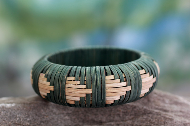 Handcrafted rattan bangle bracelet, 'Toward the Forest' by India's Kalyani Gupta