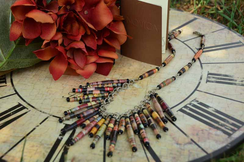 Novica Recycled Paper Statement Necklace