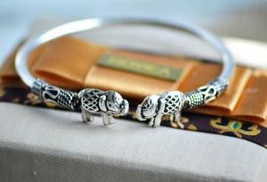 Good Luck Silver Bracelet – Proud Elephant Cuff