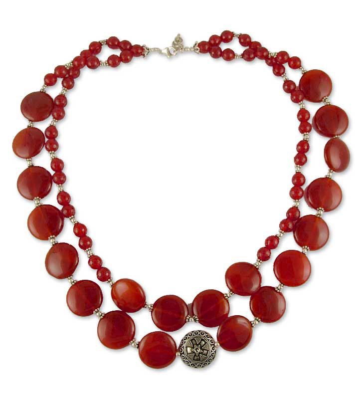 Star of Fire Carnelian Strand Necklace