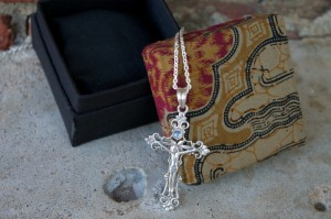 Sterling Silver Rainbow Moon Cross Necklace