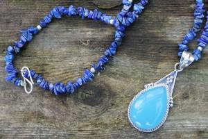 Lapis Lazuli & Chalcedony Pendant Necklace