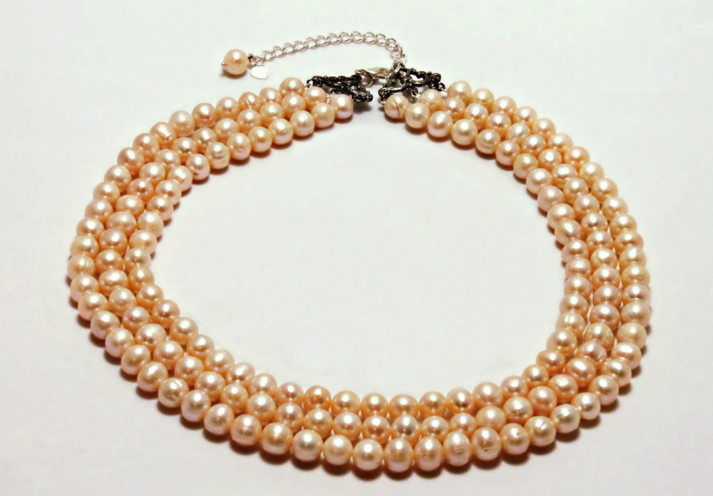 Triple Halo Pearl Stand Necklace