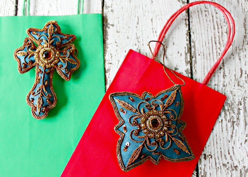 Teal Hand Crafted Beaded Ornaments from India