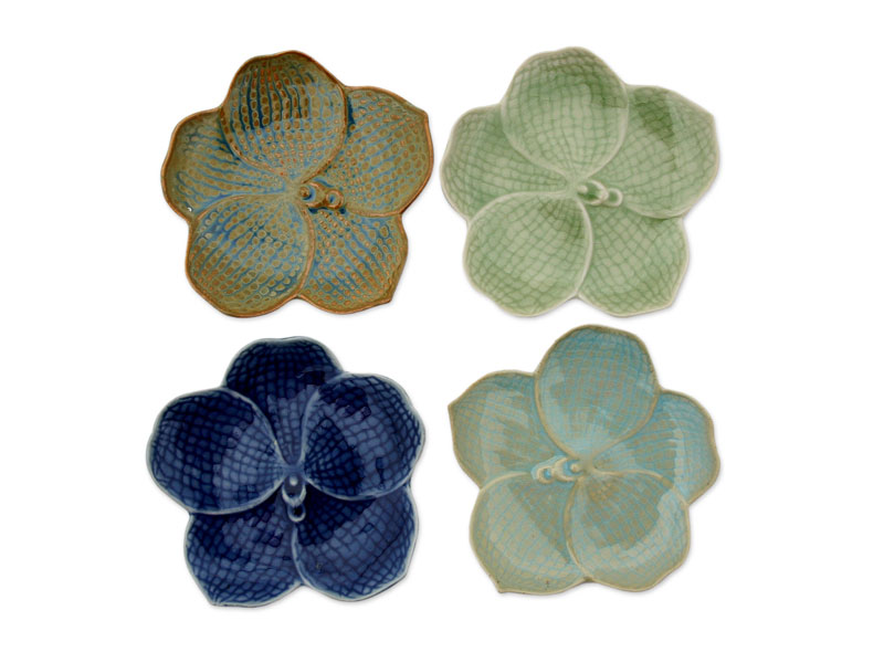 Best Mothers Day Gifts - 'Orchids' celadon plates