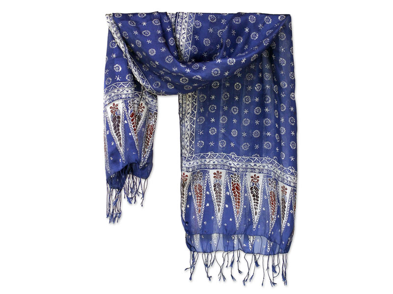 Best Mothers Day Gifts - Blue Silk Batik Scarf