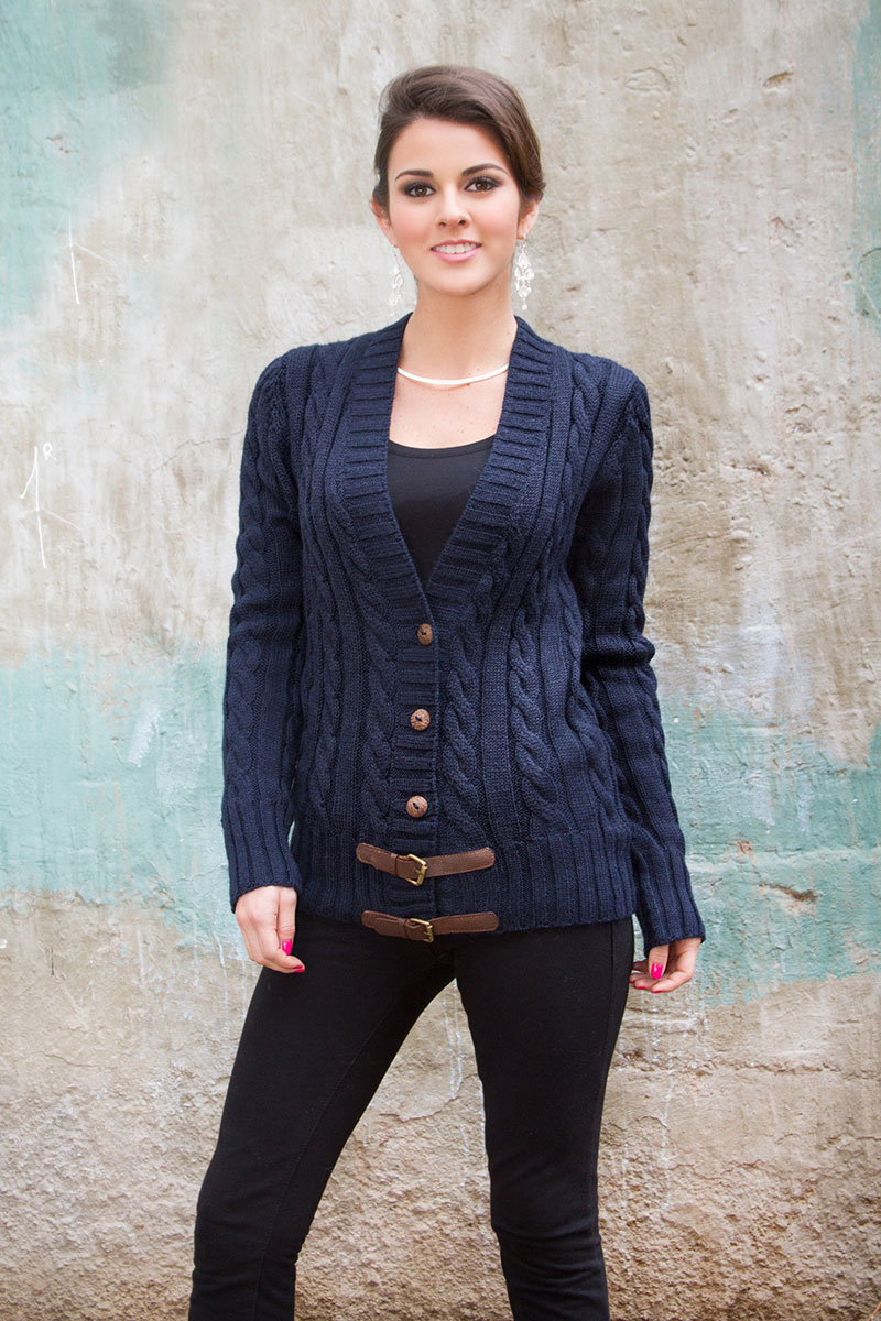 Alpaca cable-knit sweater, 'Buckles on Navy'