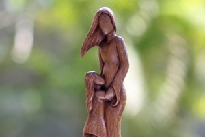 Handcrafted Sculpture: A Mother and Her Daughter