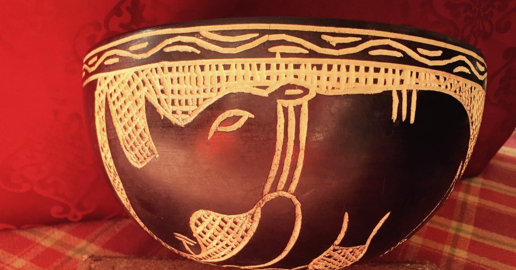 Decorative wood bowl, rhino side