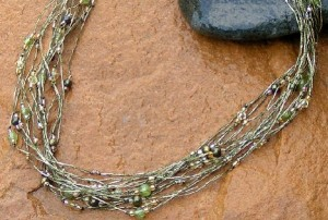 River of Green Beaded Pearl Necklace