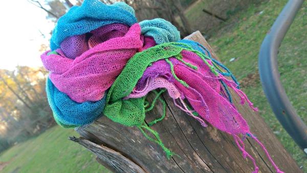 Beautiful 'Breezy Spring' Raw Silk Scarves