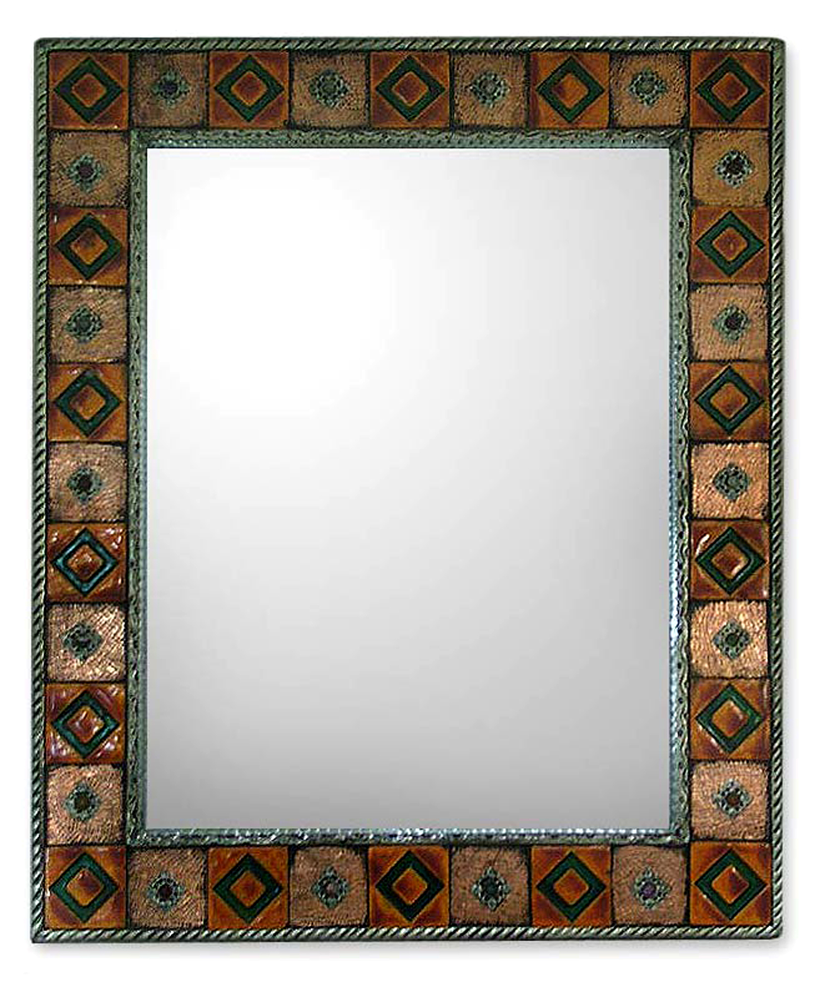 Repoussé Copper Mirror
