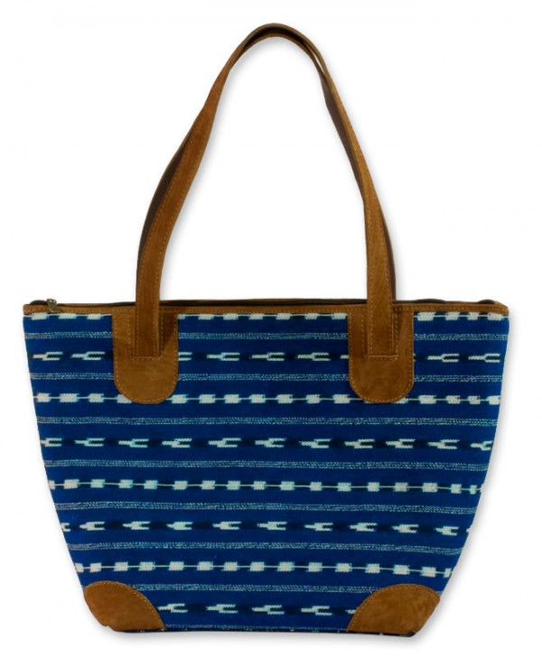 Blue Maya Leather Accent Cotton Shoulder Bag