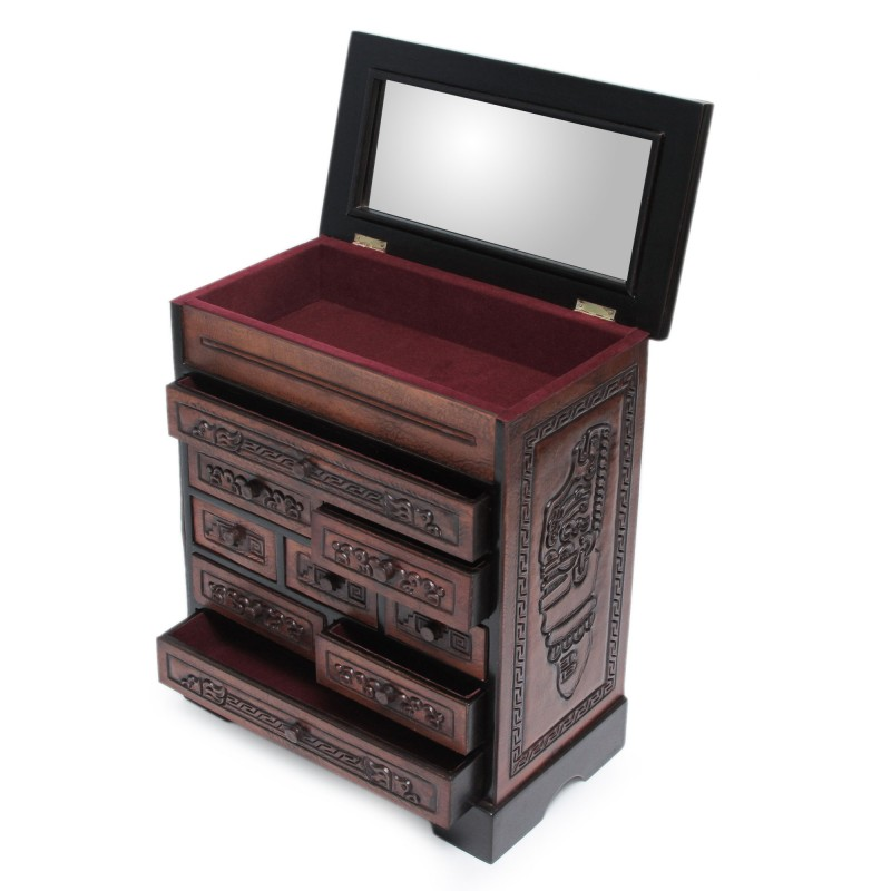 Tooled leather and wood Inca jewelry box chest