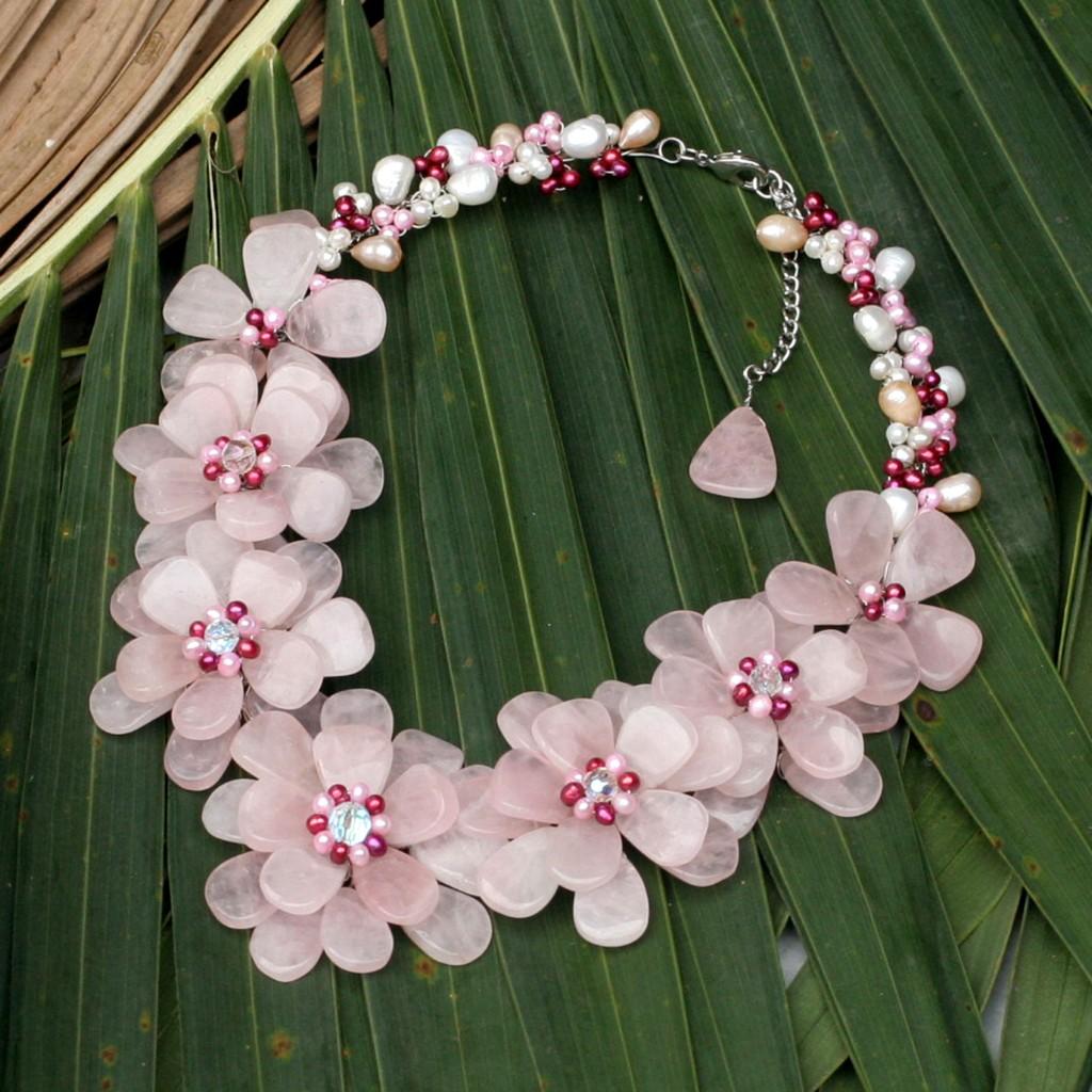 Pearl and Rose Quartz Necklace Gardenia Garland