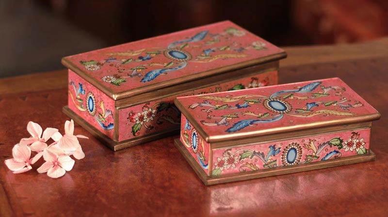 Sapphire Glass Jewelry Box Set Reverse Hand Painted