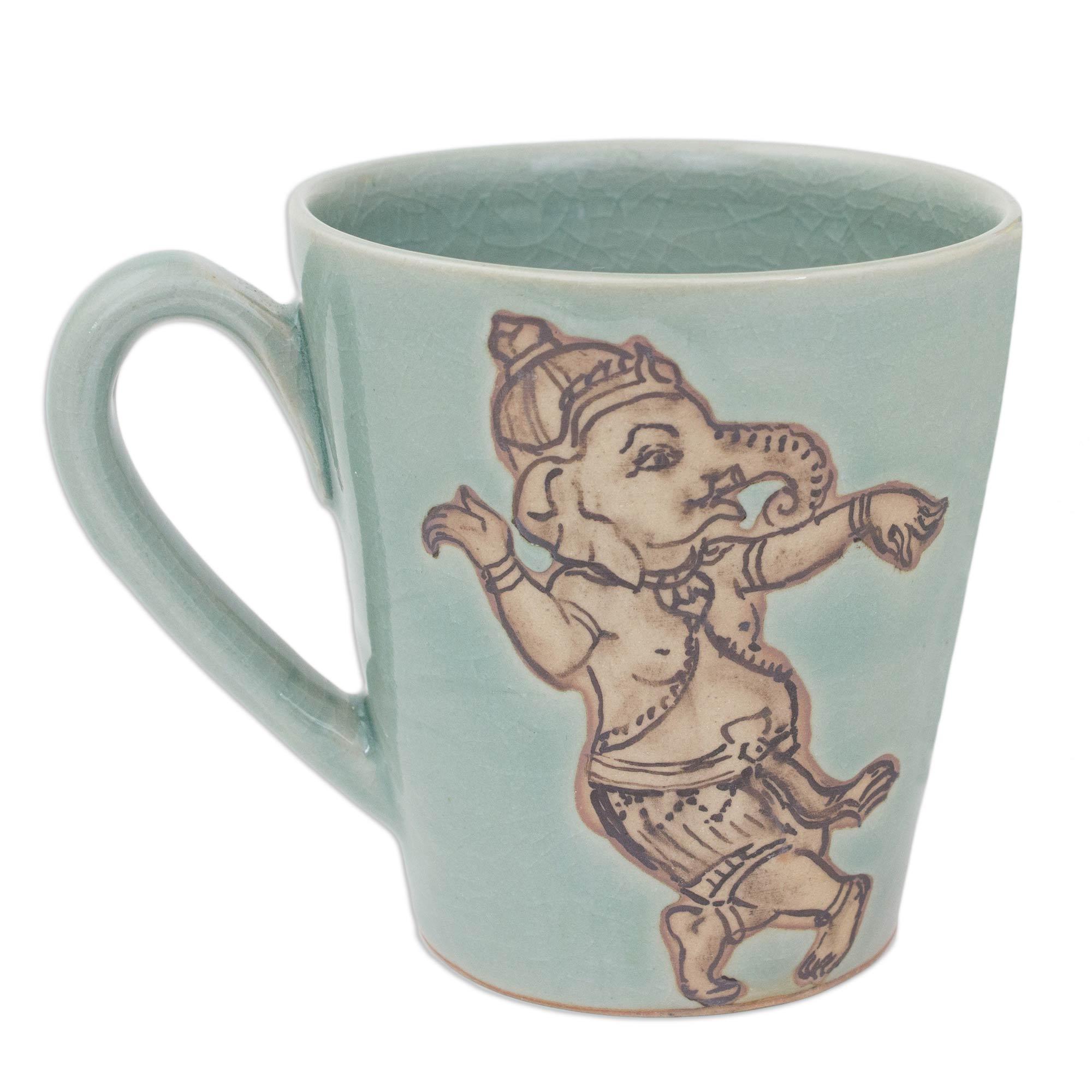 Whimsical Ganesha Light Blue Celadon Mug