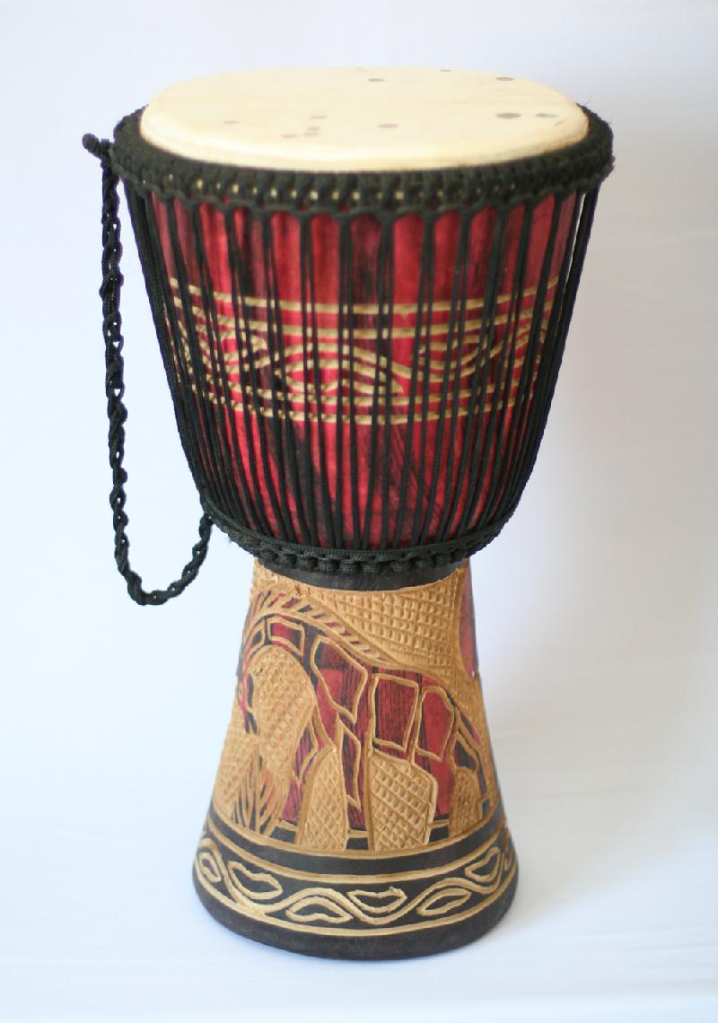 african drum with giraffe design