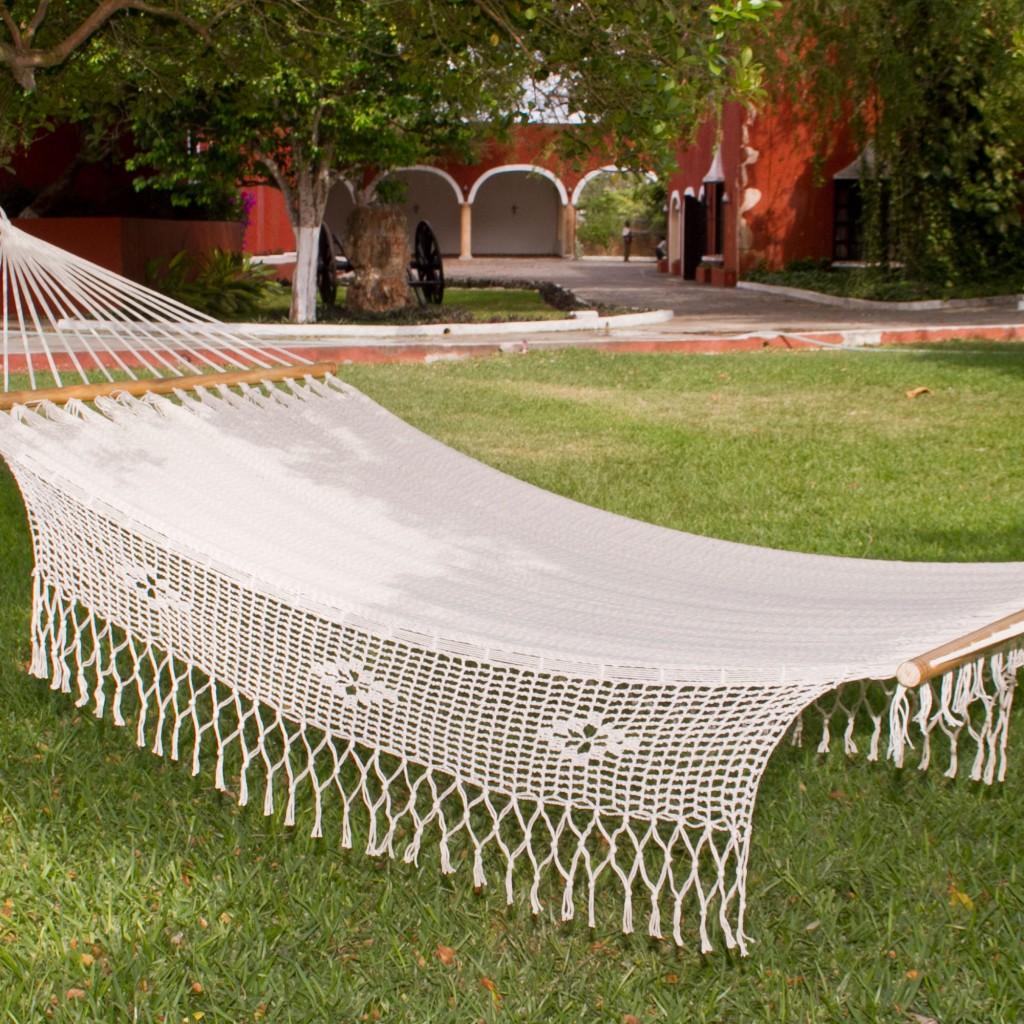 white cotton hammock