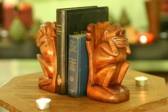 handcarved wooden monkey book ends
