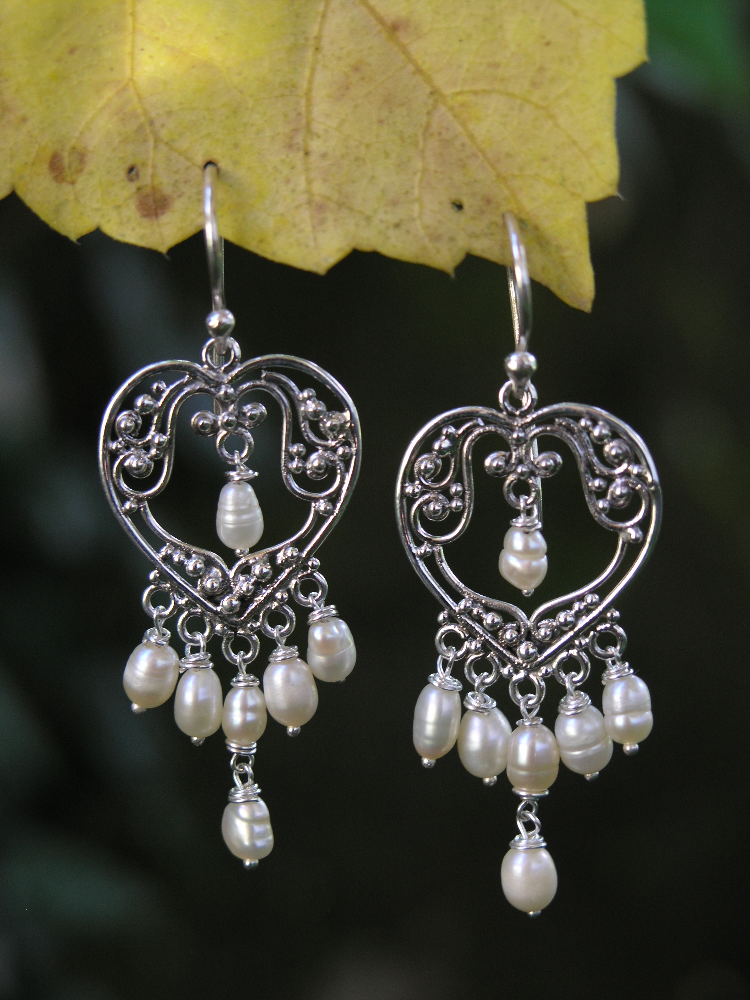 heart pearl chandelier earrings