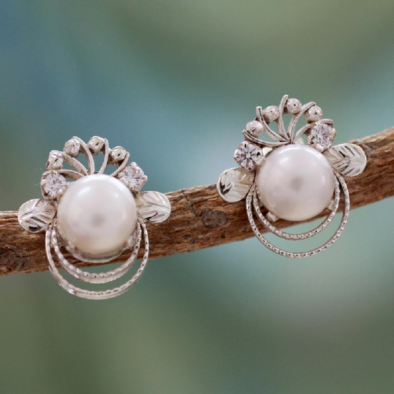 NOVICA Pearl Earrings, Bridal Pearl Earrings