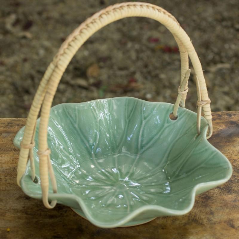 Celadon Ceramic Lotuc Leaf Bowl with handle