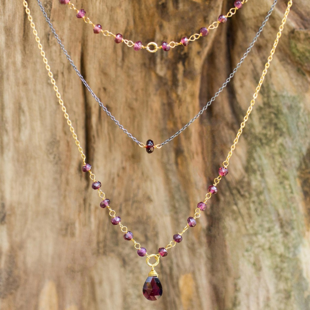 Vermeil and Garnet 3-in-1 Necklace Handcrafted in Thailand, 'Lanna Delicacy'