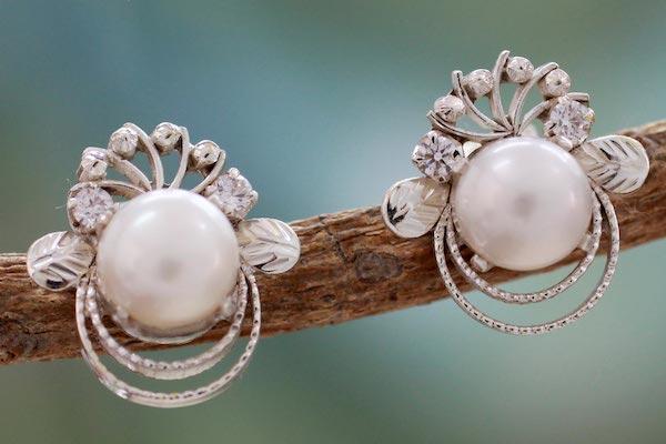 button earrings, pearl wedding earrings, sterling sillver