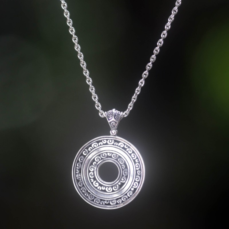 Hand Crafted Silver Silver Pendant Necklace from Bali, 'Destiny' NOVICA