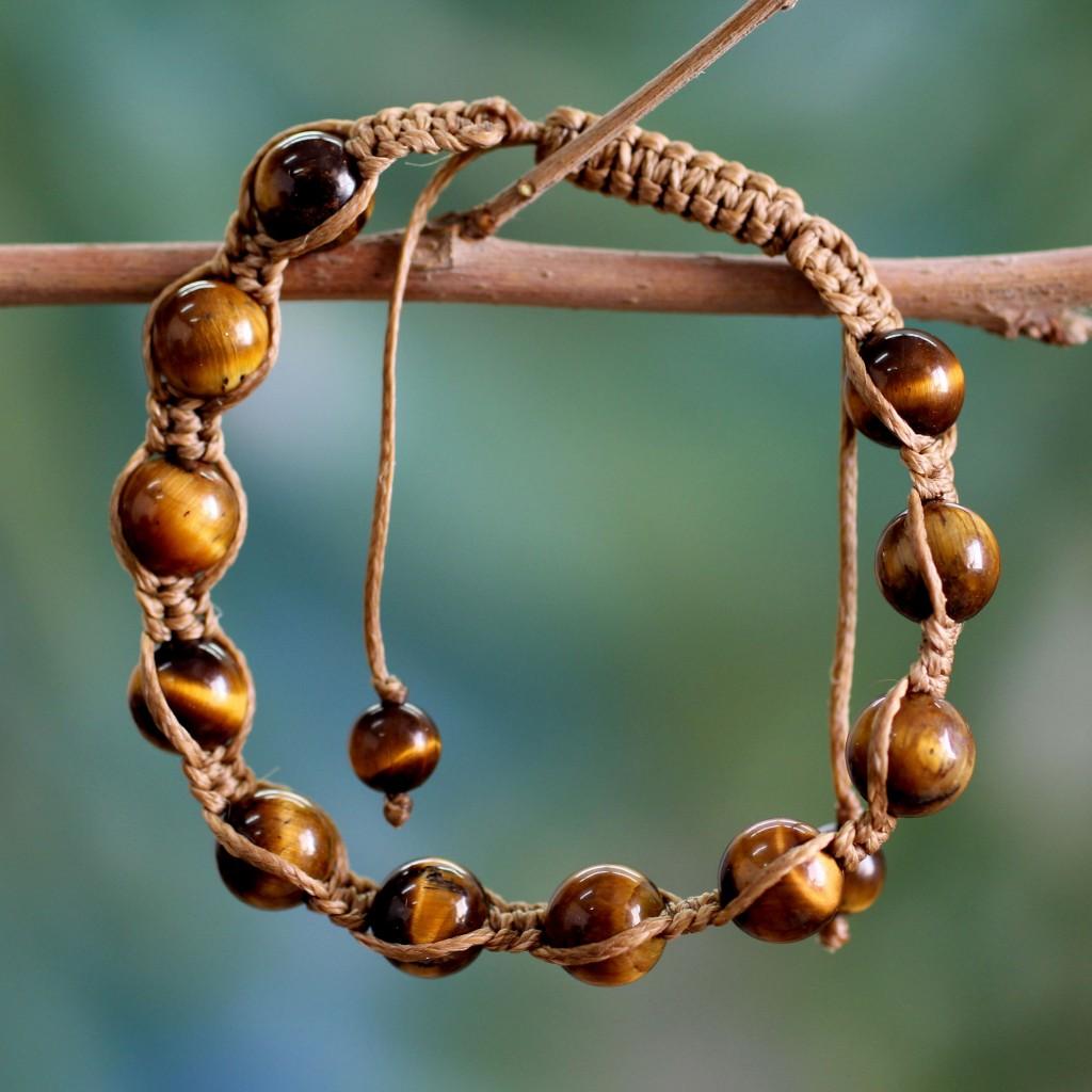 Tiger's eye Shambhala-style bracelet, 'Oneness'