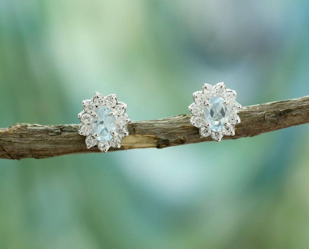 topaz button earrings