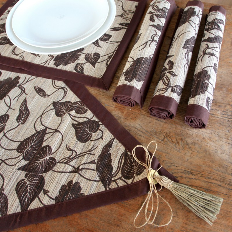 Bali Flora Table Linens Brown Leaf pattern Tassels. Table runner, placemats. Napkins.
