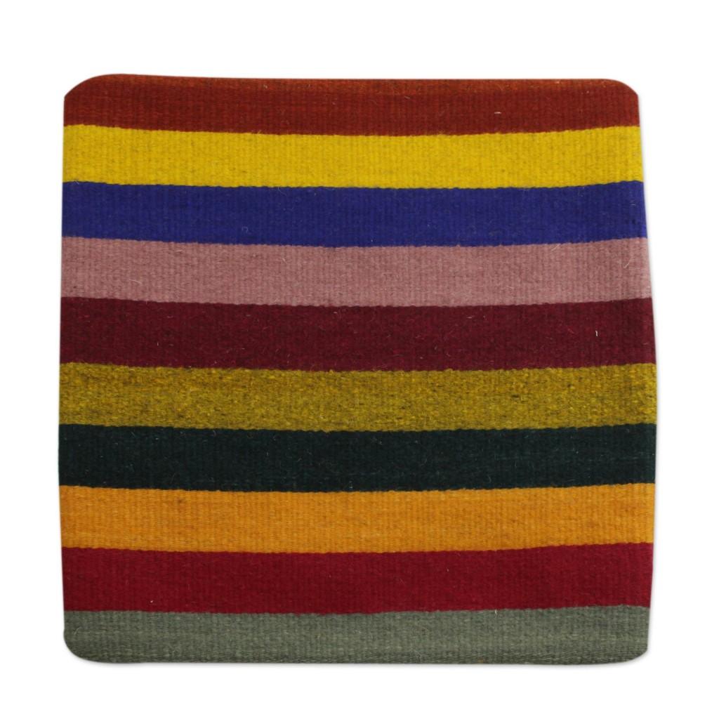 Bright Horizons Cushion Cover Striped pillow case wool zippered fair trade NOVICA