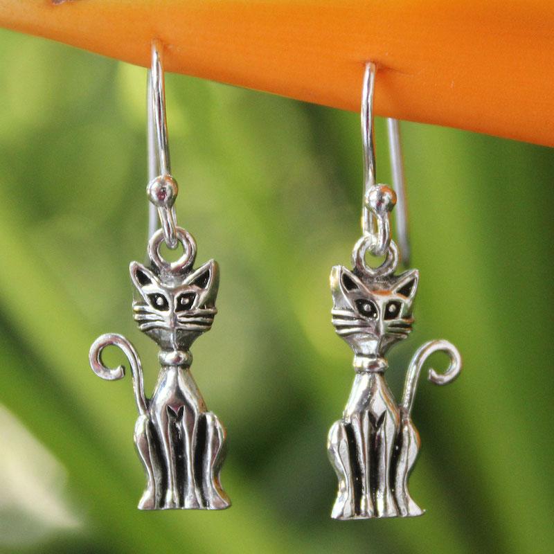 Feline Fantasy Sterling Silver Cat Earrings Dangle Original Handmade Art NOVICA Fair Trade