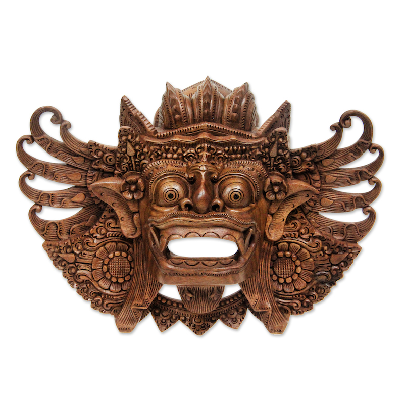 Lion Barong Mask Hand Carved Wood Wall Art Indonesian Balinese Original NOVICA Fair Trade