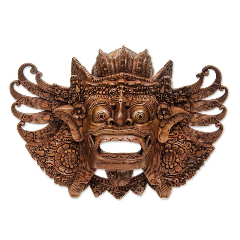 Lion Barong Mask Hand Carved Wood Wall Art Indonesian Balinese Original NOVICA Fair Trade