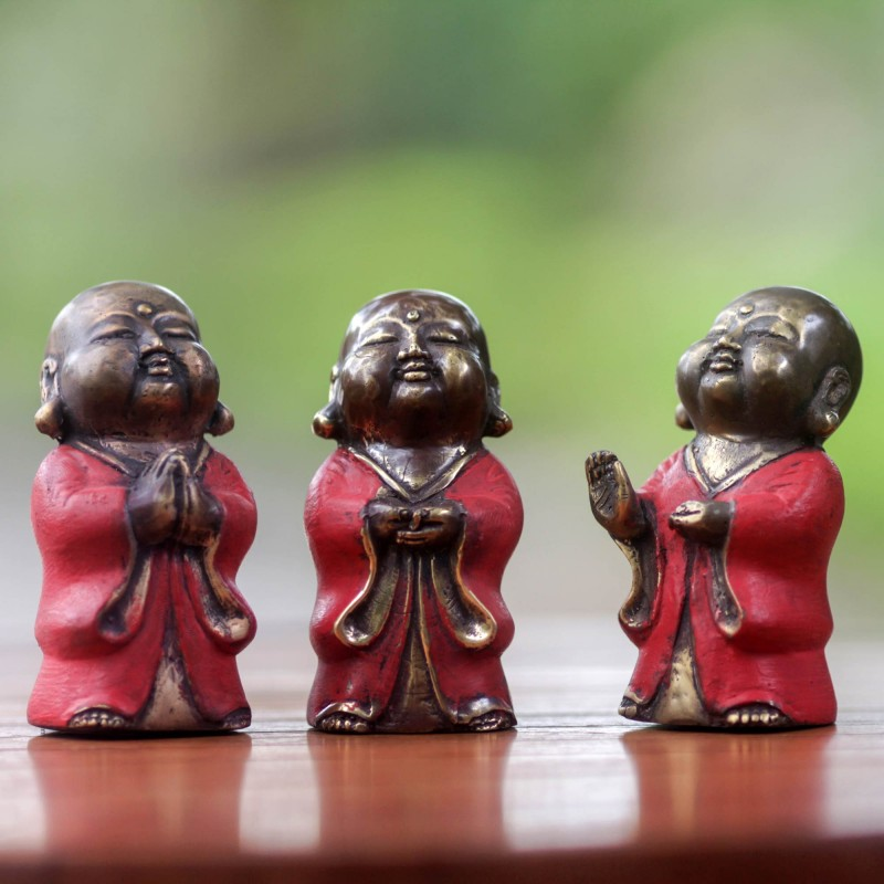 Three Aged Bronze Buddha Images from Bali, 'Little Buddha in Red' Set Figurines