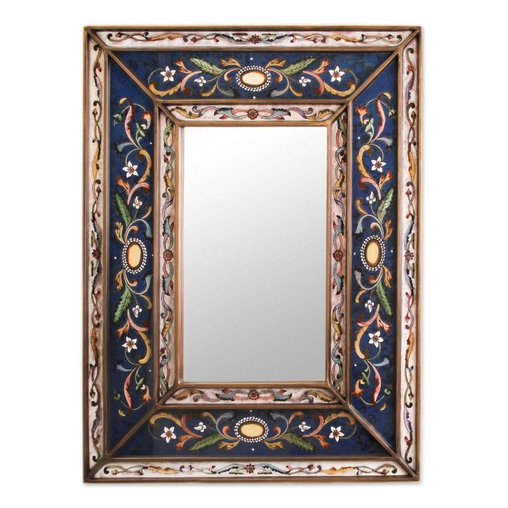 Mirror Cajamarca Frost Rectangular reverse painted mirror wall art blues