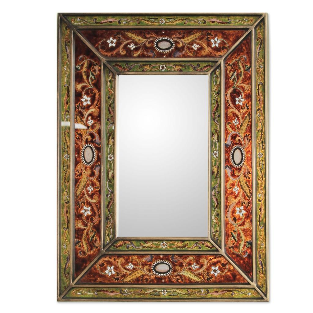 Rectangular Glass Wall Mirror Reverse Painted from Peru, 'Cajamarca Warmth' Art Fair trade