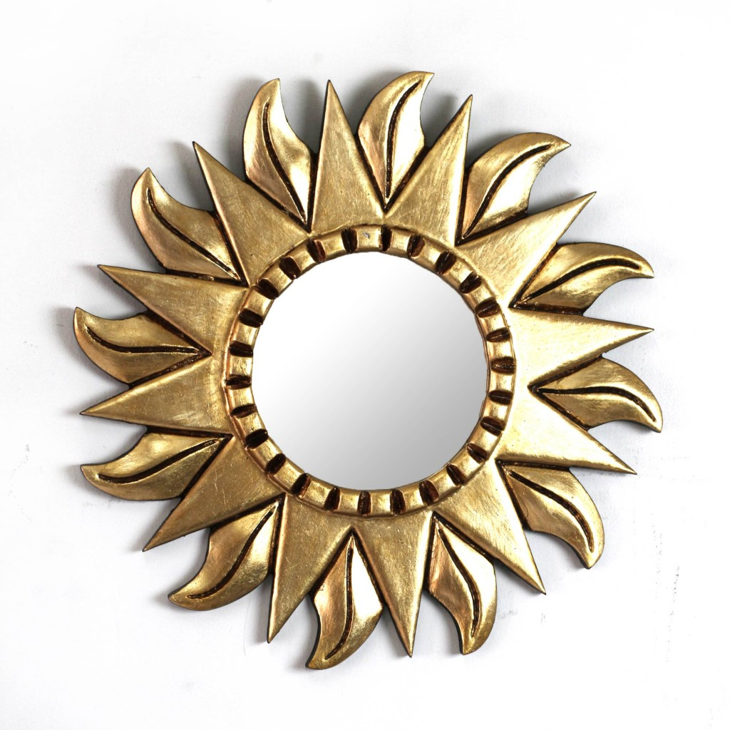 Mohena wood mirror Sunflower. small floral wall art gilded frame