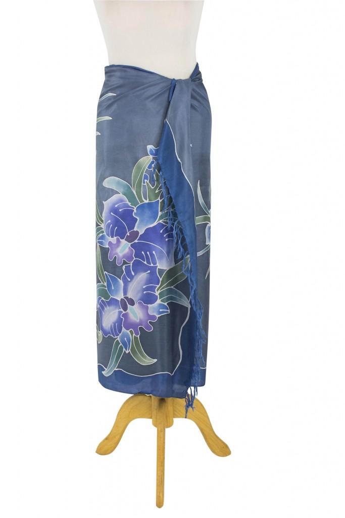 100% Thai Silk Sarong Wrap with Hand-printed Batik Orchids, 'Midnight Cattleya', silk wrap, silk sarong,