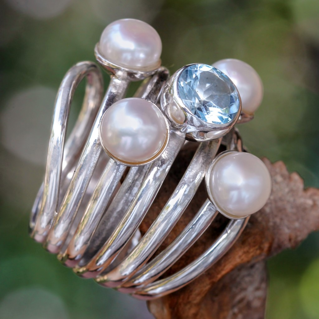 Pearl and Blue Topaz Cocktail Ring Heavens Above Fair Trade Sterling Silver NOVICA Jewelry