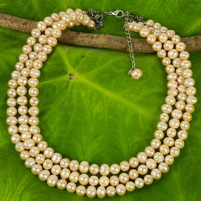 NOVICA Fair Trade Gifts Jewelry Sterling Silver Beaded Strand Pearl Strand Necklace Triple Halo