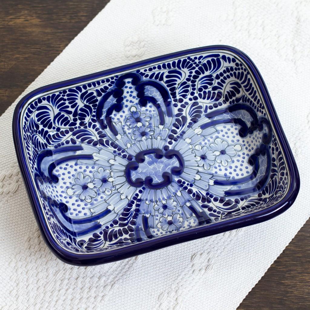 Puebla Kaleidoscope Talavera Serving Dish Hand Painted blue white rectangular serving bowl NOVICA Fair Trade Art