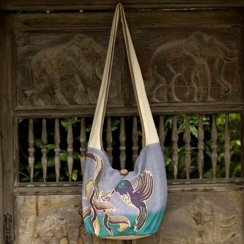 Purple Cotton Sling Handbag from Thailand, crossbody bag,