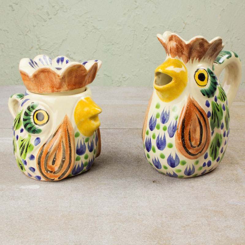 Roosters sugar and creamer set coffee and tea service majolica traditional ceramics