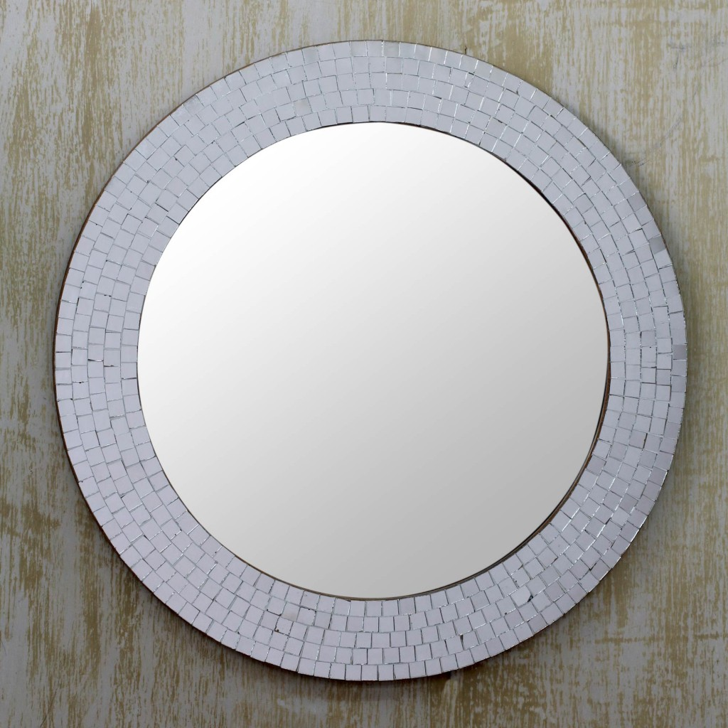 Silver Glass Mosaic Wall Mirror Silvery Glamour2