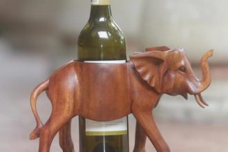 Sumatran Elephant wood wine bottle holder