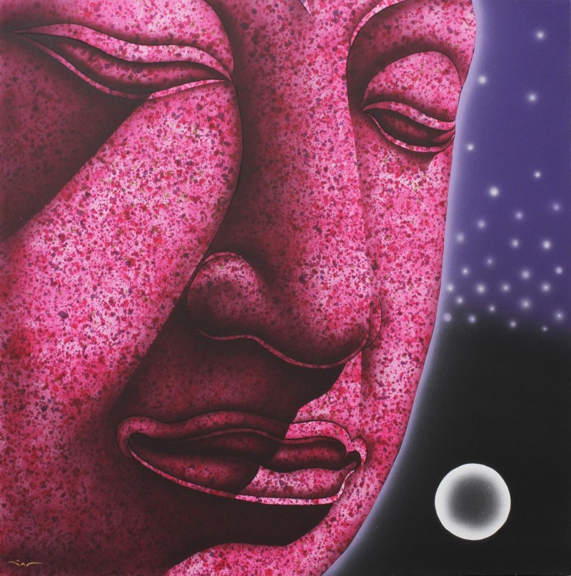 The Ayutthaya Meditation II painting original acrylic art NOVICA Meditation, mindfulness, tranquility fair trade. pink moon and stars
